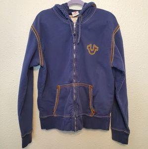 True Religion zip up hodded sweater
